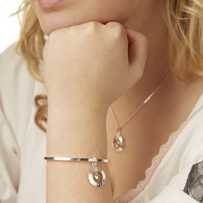 Heart of gold bangle